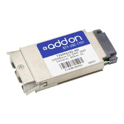 AddOn Avaya 720260185 Compatible GBIC Transceiver - GBIC transceiver module - Gigabit Ethernet ompatible TAA Compliant 1000Ba se-ZX GBIC Transceiv