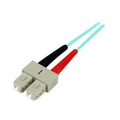 StarTech.com 10m Fiber Optic Cable - 10 Gb Aqua - Multimode Duplex 50/125 - LSZH - LC/SC - OM3 - LC to SC Fiber Patch Cable - patch cable - 10 m - aqua  CABL