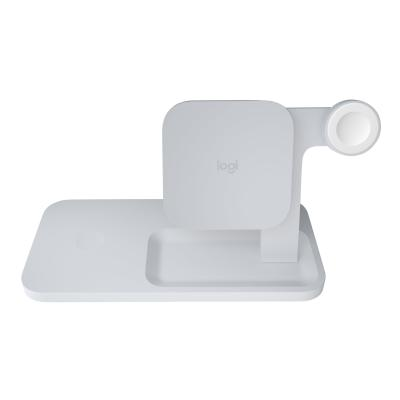 Logitech POWERED Wireless Charging Dock wireless charging stand + AC power adapter - 9 Watt  OFF WHT