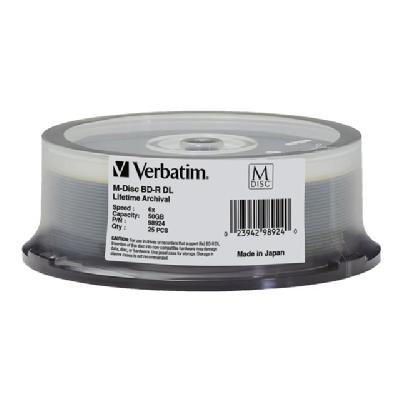 Verbatim M-Disc - BD-R DL x 25 - 50 GB - storage media hundred years (based on ISO/IE C 16963 testing) Imp