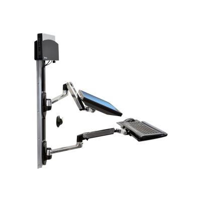 Ergotron LX Wall Mount System with Small CPU Holder - mounting kit - for LCD display / keyboard / mouse / CPU l CPU Holder (polished aluminu m arms  black cpu ho