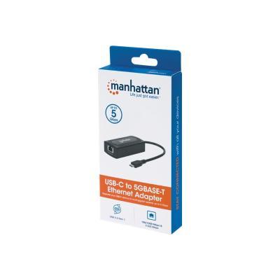 Manhattan USB-C to 5GBASE-T Gigabit (10/100/1000 Mbps & 5 Gbps) RJ45 Network Adapter, 5 Gbps (USB 3.2 Gen1 aka USB 3.0), Multi-Gigabit Ethernet, Black - network adapter 5 Gbps USB & Multi-Gigabit Eth ernet Connection Spe