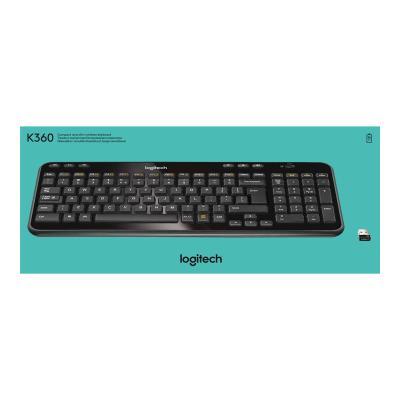 Logitech Wireless Keyboard K360 - keyboard - Canadian French - glossy black (French)