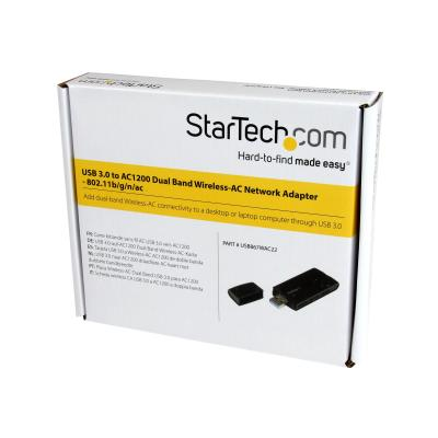 StarTech.com USB 3.0 AC1200 Dual Band Wireless-AC Network Adapter - 802.11ac WiFi Adapter - 2.4GHz / 5GHz USB Wireless - AC Network Card (USB867WAC22) - network adapter  WRLS