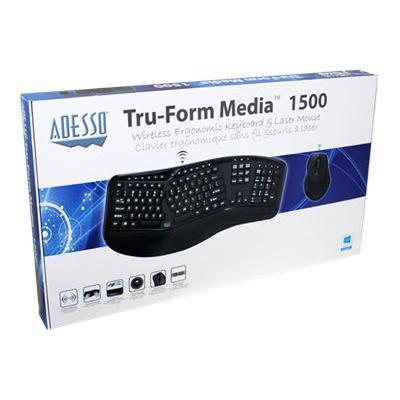 Adesso Tru-Form Media 1500 - keyboard and mouse set - US - black