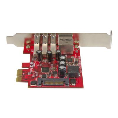 StarTech.com 3 Port PCI Express USB 3.0 Card + Gigabit Ethernet - Fits Standard & Low-Profile PCs - UASP Supported - Optional SATA Power (PEXUSB3S3GE) - network / USB adapter - PCIe 2.0 - USB 3.0 x 3 + 1000Base-T x 1  Merge USB 3.0 and GbE into a single PCIe combo ca