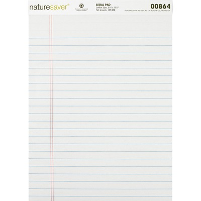 Nature Saver Recycled Legal Ruled Pads