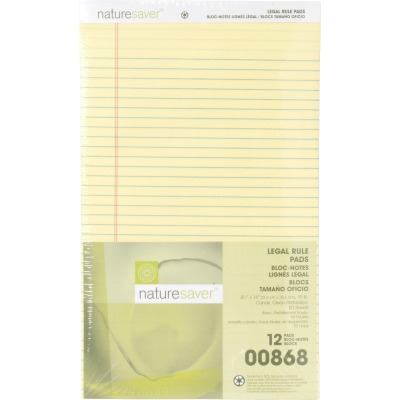 Nature Saver 100% Recycled Canary Legal Ruled Pads - Legal