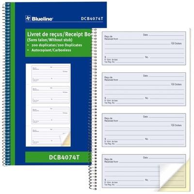 Blueline Bilingual Receipt Book