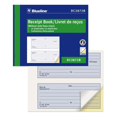 Blueline Bilingual Receipt Forms Book