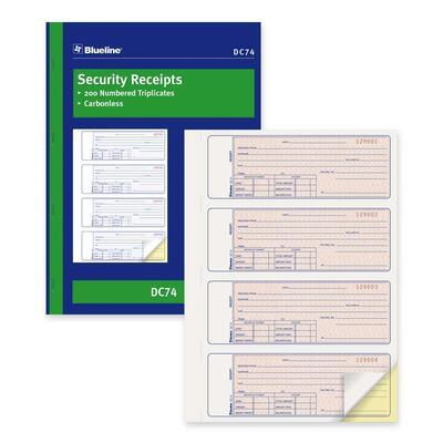 Blueline Security Receipt Forms Book