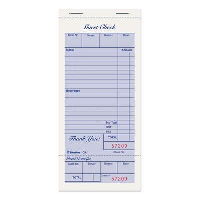 Blueline Guest Check Book