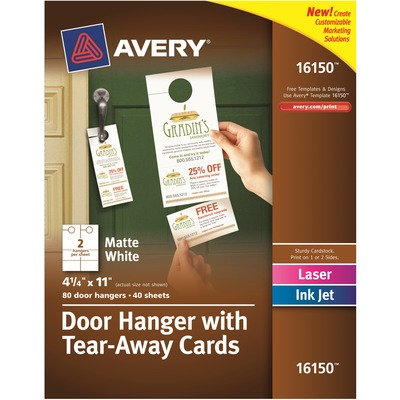 Avery® Door Hanger with Tearaway Cards, Uncoated - Two-Sided Printing
