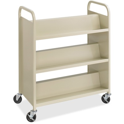 Safco Steel Shelf Double-Sided Book Carts, 6-Shelf Cart