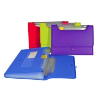 VLB 13-Pocket Poly Expanding File With Window, Assorted Colours, Letter-Size (8 1/2