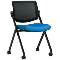 Chaise visiteur empilable Gennex Global, bleu firmament, tissu Waterfall