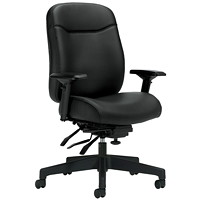 Offices To Go Overtime Heavy-Duty High-Back Multi-Tilter Chair, Black Luxhide Bonded Leather Seat and Back