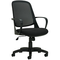 Global Amira Mid-Back Tilter Chair, Black, Fabric/Mesh