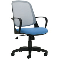 Global Amira Mid-Back Tilter Chair, Blue, Fabric/Mesh