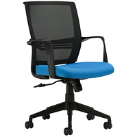 Global Safari Mid-Back Tilter Chair, Sky Blue, Waterfall Fabric/Mesh
