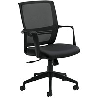 Offices To Go Safari Mid-Back Tilter Chair, Dance Black, Waterfall Fabric/Mesh