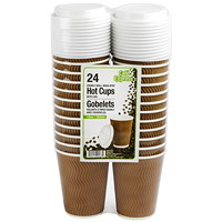 Café Express Double Wall Insulated Ripple Hot Cups With Lids, 12 oz, 24/PK