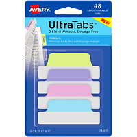 Avery UltraTabs Repositionable Page Margin Tabs, Assorted Pastel Colours,  2 1/2