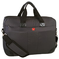 SwissGear Ultra-Slim Laptop Briefcase, Black, Fits Laptops up to 15.6