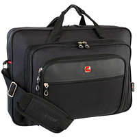 SwissGear Top-Loading Laptop Messenger Bag, Black, Fits Laptops up to 17.3