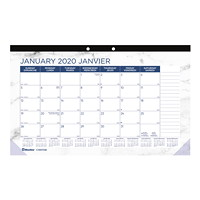 Blueline Marble Monthly Desk Pad Calendar, 17 3/4