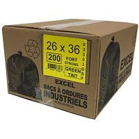 Sacs à ordures Eco II Manufacturing Inc., vert, robuste, 26po x 36po, caisse de 200