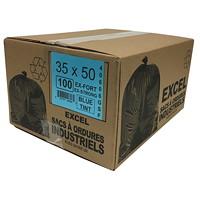 Sacs à ordures Eco II Manufacturing Inc., bleu, ultrarobuste, 35po x 50po, caisse de 100