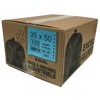 Sacs à ordures Eco II Manufacturing Inc., bleu, robuste, 35po x 50po, caisse de 125