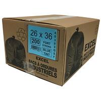 Sacs à ordures Eco II Manufacturing Inc., bleu, robuste, 26po x 36po, caisse de 200