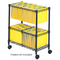 Safco 2-Tier Mobile Wire File Cart, 25 3/4