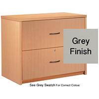 Classeur latéral à 2 tiroirs Genoa Global, gris, 36poL x 20poP x 29poH