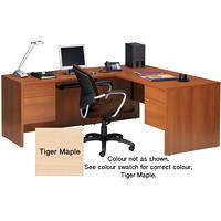 Global Genoa L-Shaped Double-Pedestal Desk, Tiger Maple, 66