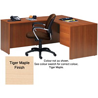 Global Genoa Series L-Shaped Single-Pedestal Desk, Tiger Maple, 60