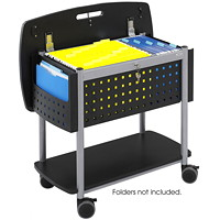 Safco Scoot Open Top Locking Mobile File With With Bottom Shelf And Top Work Surface, 29 3/4