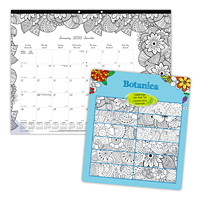 Blueline Botanica Academic Colouring Desk Pad Calendar, 22
