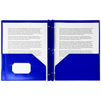 Couverture de présentation en poly à deux pochettes Winnable, bleu foncé, format lettre