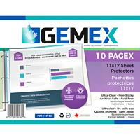 Pochettes protectrices en polypropylène à insertion par le haut Gemex, épaisseur supérieure, ultratransparent, format tabloïde, emb. de 10