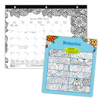 Blueline Botanica Monthly Colouring Desk Pad Calendar, 11