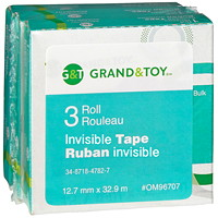 Grand & Toy Invisible Tape Refills, 12.7 mm x 32.9 m, 3/PK