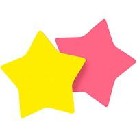 Feuillets super collants en forme d'étoile Post-it, rose et jaune, 3po x 3po, blocs de 75 feuillets, emb. de 2