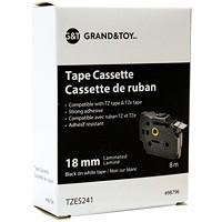 Cassettes de ruban laminés TZ et TZe Grand & Toy, impression noir sur blanc, 18 mm x 8 m (TZ241)
