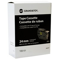 Cassettes de ruban laminés TZ et TZe Grand & Toy, impression noir sur transparent, 24 mm x 8m (TZ151)