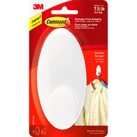 Command Clothes Hanger, White, 7 1/2 lb Capacity