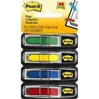 Post-it Preprinted Arrow Message Flags, Assorted Colours, 1/2