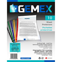 Gemex Top-Loading Sheet Protectors, Standard Weight, Ultra-Clear/Coloured Spines, Letter Size, 10/PK